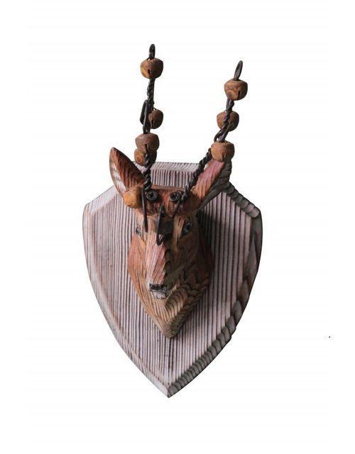 Decoshop Trophée tête de cerf en bois et clochette