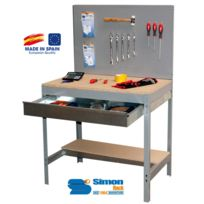 Simon Rack - Kit Etabli avec tiroir 1440x900x600mm - Bt-2 Box 900 Gris Fonce/BOIS