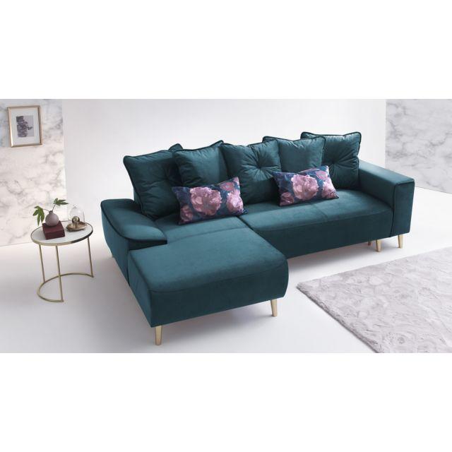 bobochic hera canap d 39 angle gauche convertible en tissu couleur bleu canard achat vente. Black Bedroom Furniture Sets. Home Design Ideas