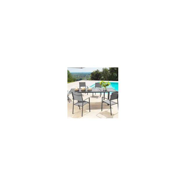 Proloisirs - Table de jardin Aluminium plateau verre 160 ...