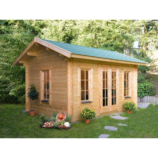 HABITAT ET JARDIN Abri jardin bois Lugano 2 - 15.96 m² - 4.20 x 3.80 x 2.96 m - 45 mm