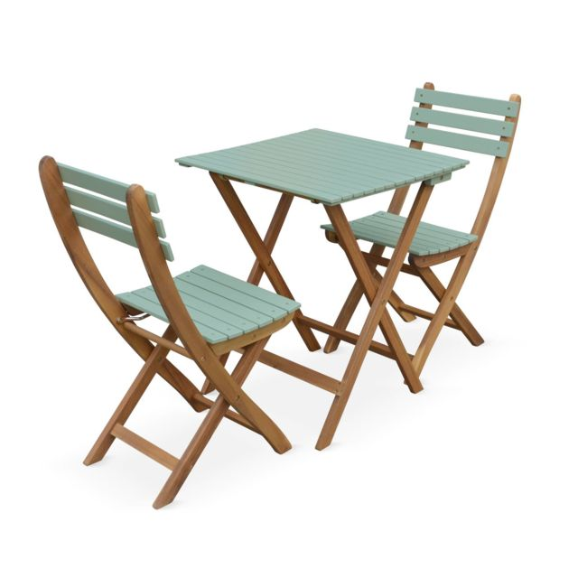 ALICE\'S GARDEN - Table de jardin bistrot en bois 60x60cm ...