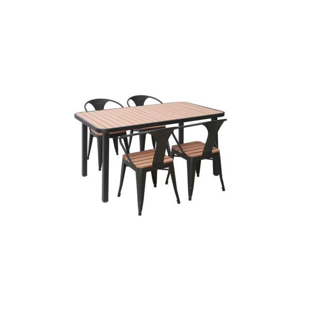 Salon de jardin avec table et 4 chaises empilables bois et métal noir  Berliner