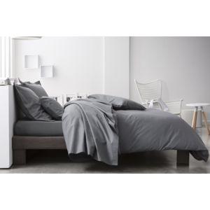 today housse de couette coton peign 78 fils 260x240 premium gris 260cm x 240cm pas cher. Black Bedroom Furniture Sets. Home Design Ideas