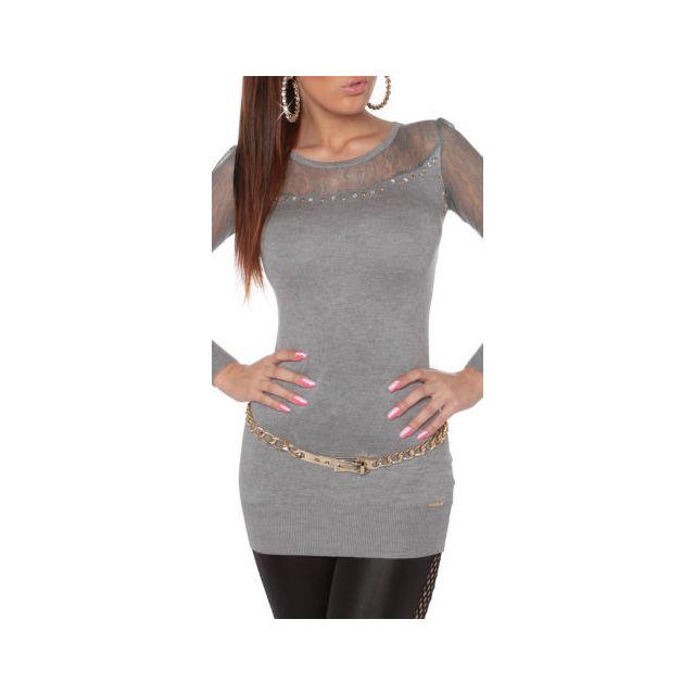 8157c435e331 Koucla - Long pull gris fashion sexy femme manches dos dentelle koucla