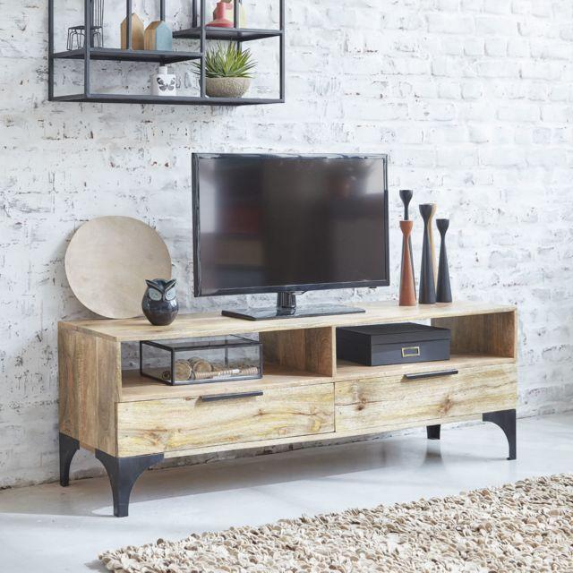 Made in meubles meuble tv 2 tiroirs 2 niches bois clair Meuble bois clair