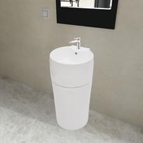 Rocambolesk - Superbe Vasque à trou de trop-plein/robinet céramique Blanc pour salle de bain neuf