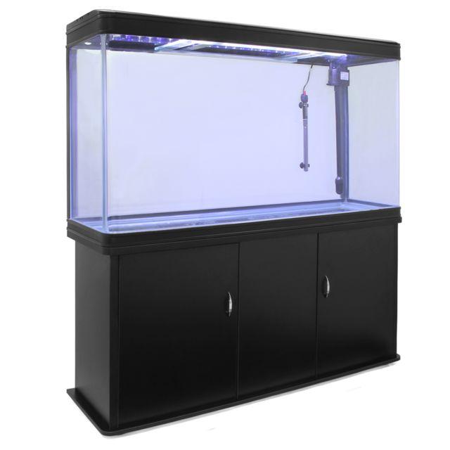 Monstershop Aquarium à bords Noir de 300 Litres avec Meuble de Support Noir