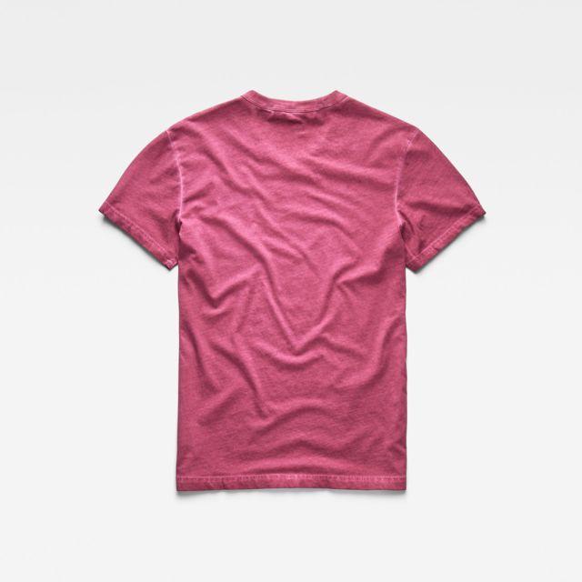 G-STAR RAW T-Shirt DOAX Rose Shine Coupe droite, col côtelé, logo petit format à droite sur la poitrine, 100% coton