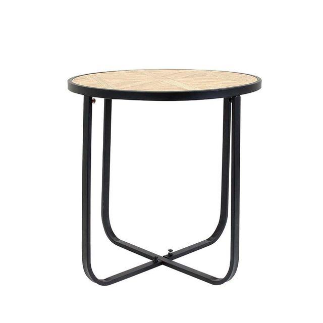 Ego Design - Table basse Hook ronde bois et métal noir 120cm x 45cm x 60cm