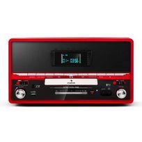 AUNA - RTT 1922 chaîne HiFi rétro MP3 CD USB FM AUX mode enregistremement - rouge