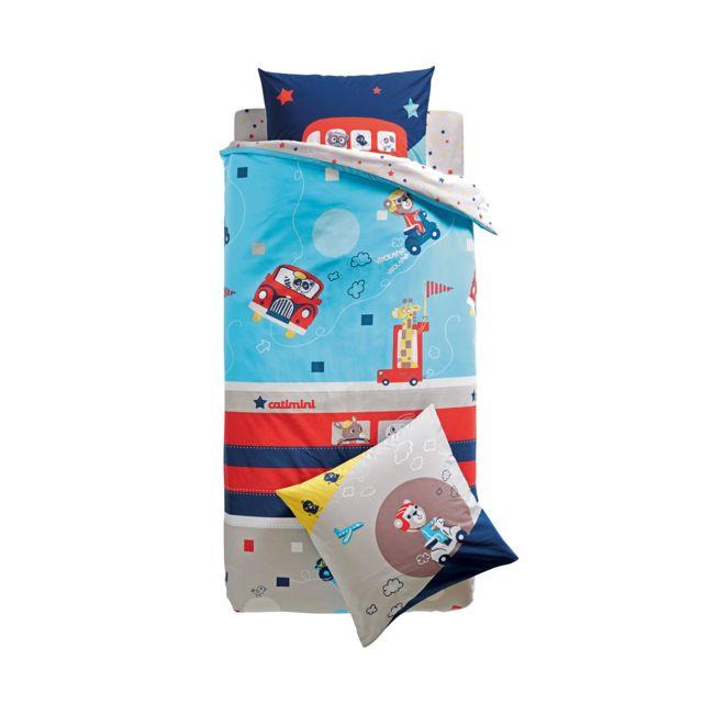 catimini housse de couette city tour bleu 200 x 200 cm pas cher achat vente linge de lit. Black Bedroom Furniture Sets. Home Design Ideas