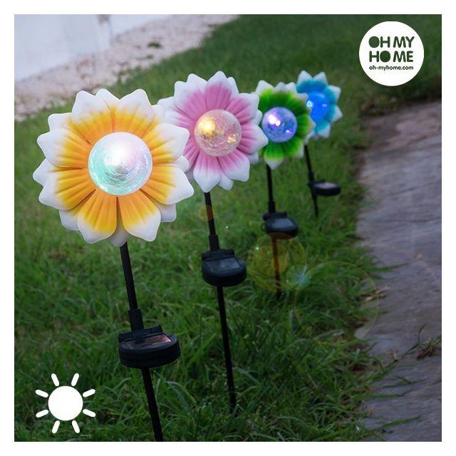 eclairage de jardin solaire Fleur Solaire avec Led Multicolore en métal et verre - Eclairage jardin  allée décoration maison