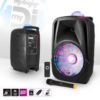 "Mydj - Enceinte mobile 600W 12"" Led Usb/BT/SD + Micro Vhf + Effet MagicBall / Friztal rotatif"