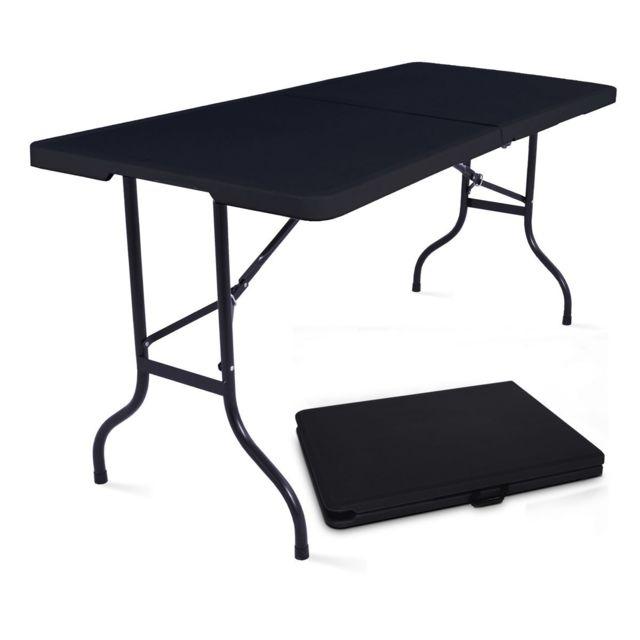 mobeventpro table pliante de camping 180cm 8 places noire 75cm x 74cm x 180cm pas cher achat. Black Bedroom Furniture Sets. Home Design Ideas