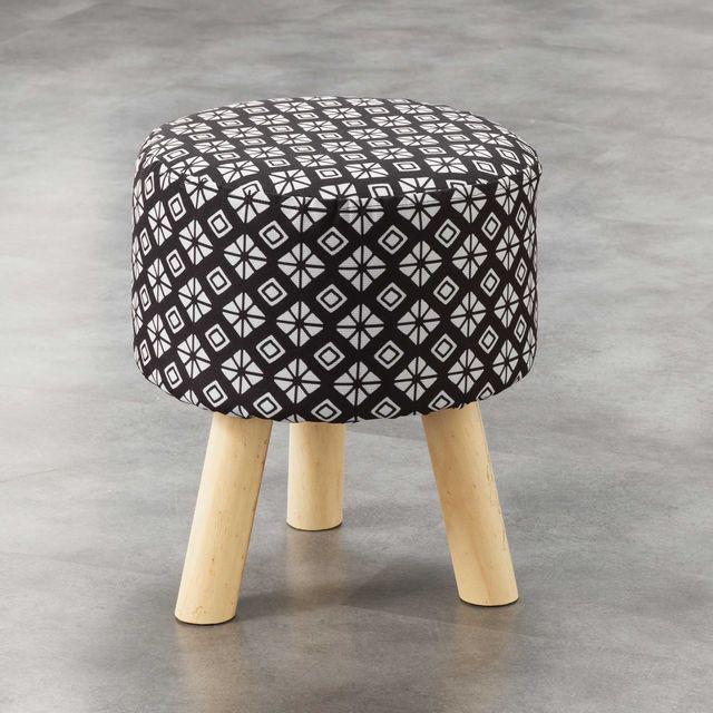 Ligne Decor Cdaffaires So tabouret 0, 32 cm x ht 36 cm fils coupes imprime graphic home Noir
