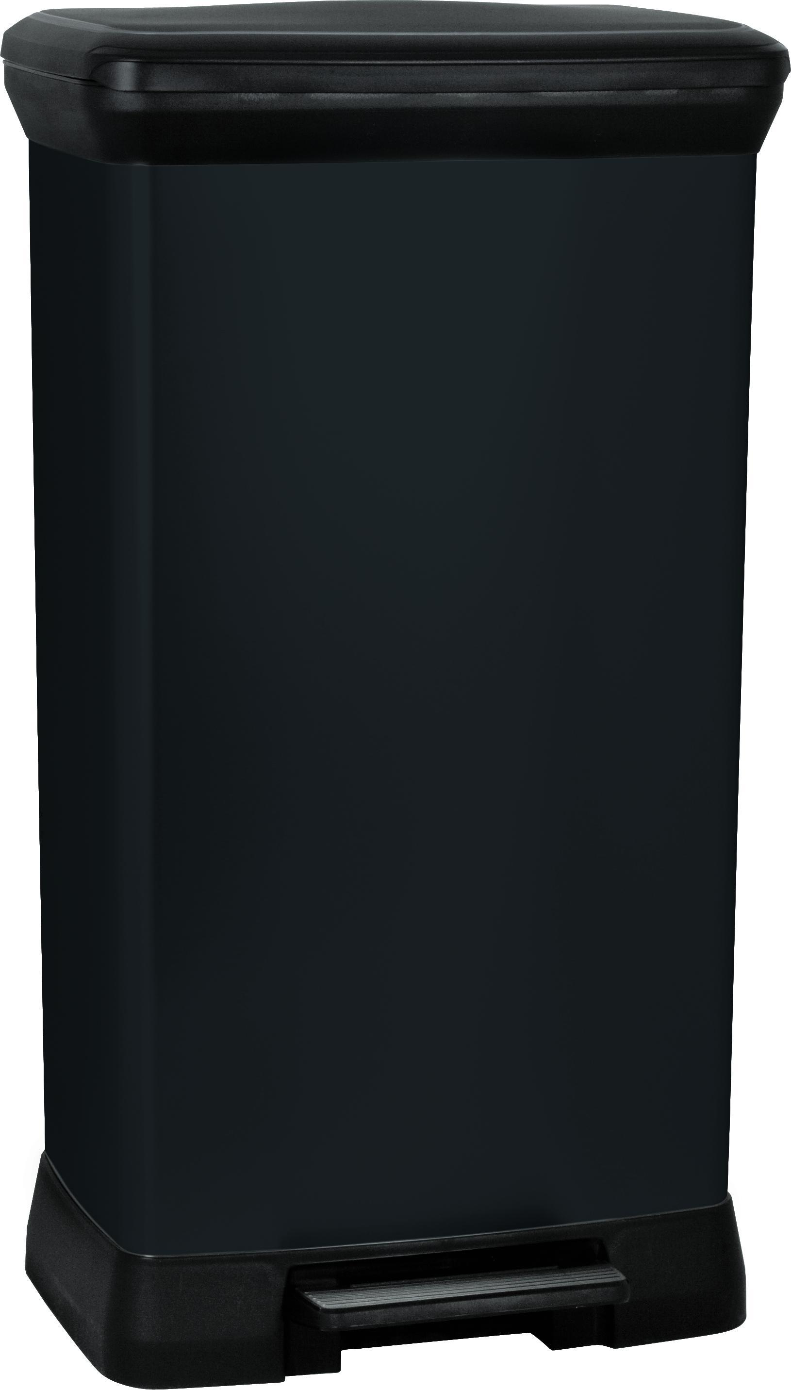 curver poubelle p dale rectangulaire 50 l aspect m tal noir 187179 pas cher achat. Black Bedroom Furniture Sets. Home Design Ideas