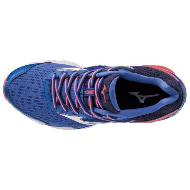 f05f5d7c80a Mizuno - Chaussures femme Wave Ultima 9 bleu blanc corail flash ...