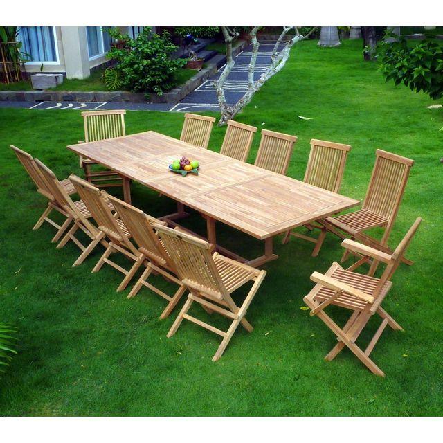 Wood En Stock - salon en teck pour le jardin, table rectangle grande ...