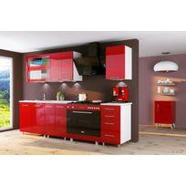 Dusine - Cuisine rouge laquée Infinity 6 éléments 1m80