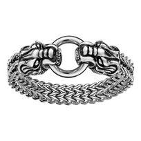 1001BIJOUX - Bracelet acier mailles 2 têtes de dragons aux extrémités avec boucle 22cm