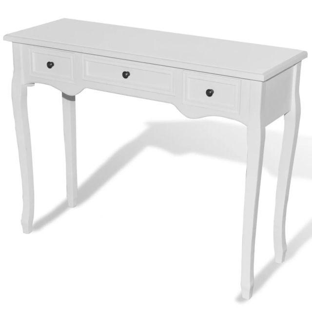 Icaverne - Bouts de canapé selection Table de console et coiffeuse avec 3 tiroirs Blanc