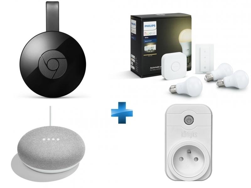 White - Kit de démarrage E27 + Chromecast + Enceinte intelligente - Google Home mini + Prise pilotée Wifi compatible Google Home et Amazon Alexa