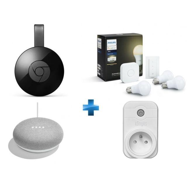 PHILIPS HUE - White - Kit de démarrage E27 + Chromecast +