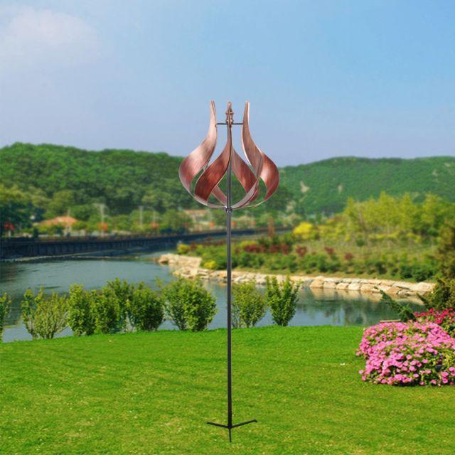 PEAKTOP - Eolienne décoration jardin moulin à vent girouette métal ...
