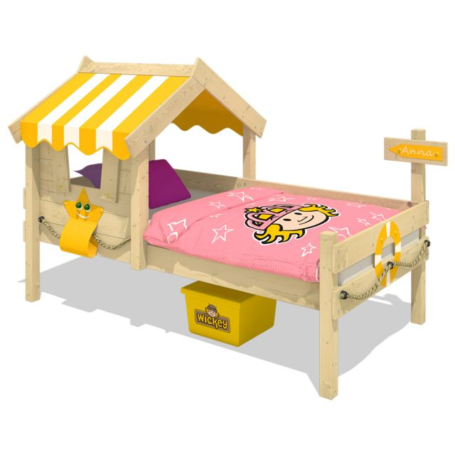 WICKEY Lit simple en bois CrAzY Sunny Lit cabane avec toit - jaune