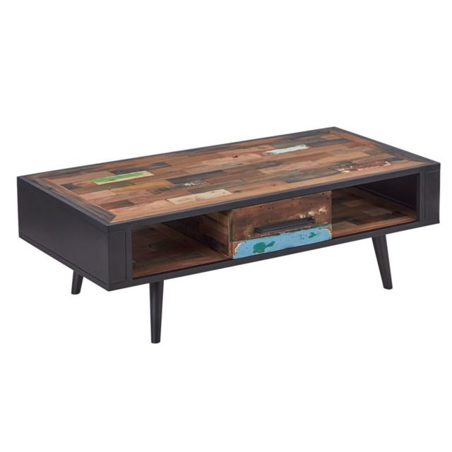 Tousmesmeubles Table basse en bois 1 tiroir - Manhattan