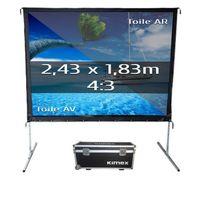 Kimex - Ecran de projection valise 2,43 x 1,83m, format 4:3, Toile Avant + Toile Arrière