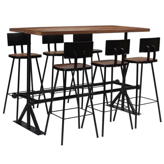 Vidaxl Mobilier de Bar 7 pcs Bois de Récupération Massif Table Chaises Maison