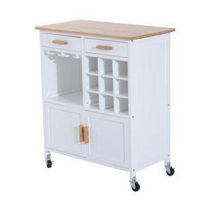 homcom chariot desserte de cuisine multi rangements sur roulettes bois massif et mdf 76l x 40l. Black Bedroom Furniture Sets. Home Design Ideas