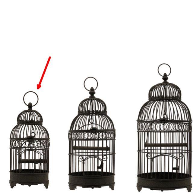 L'ORIGINALE Deco Petite Cage à Oiseaux en Fer Rond Marron 40 cm x ø16.50 cm