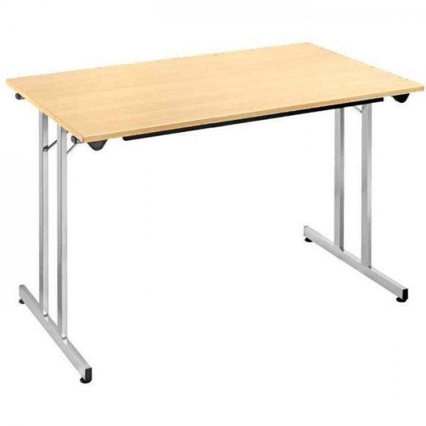 Sodematub Naudin Table pliante - 140 x 80 cm - plateau érable - pied alu