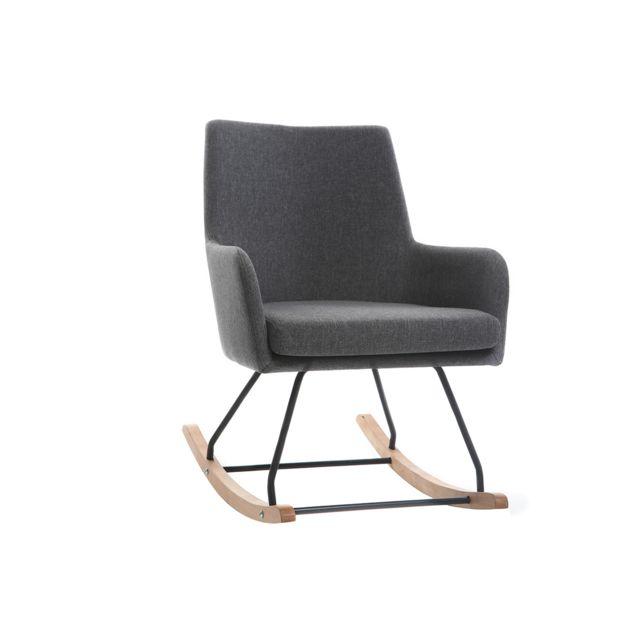 Miliboo Fauteuil rocking chair design tissu gris foncé Shana