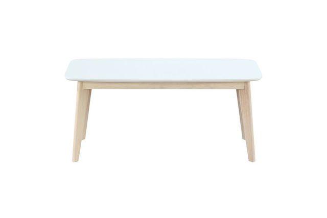 Miliboo Banc design 100cm blanc et bois Leena
