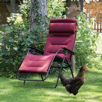 Lafuma - Chaise longue pliante multiposition en acier et toile Air Comfort Futura