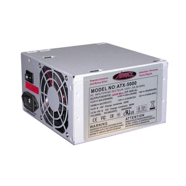 ADVANCE - Alimentation silencieuse ATX thermo-régulée 480 Watts - Ventilateur 8 cm