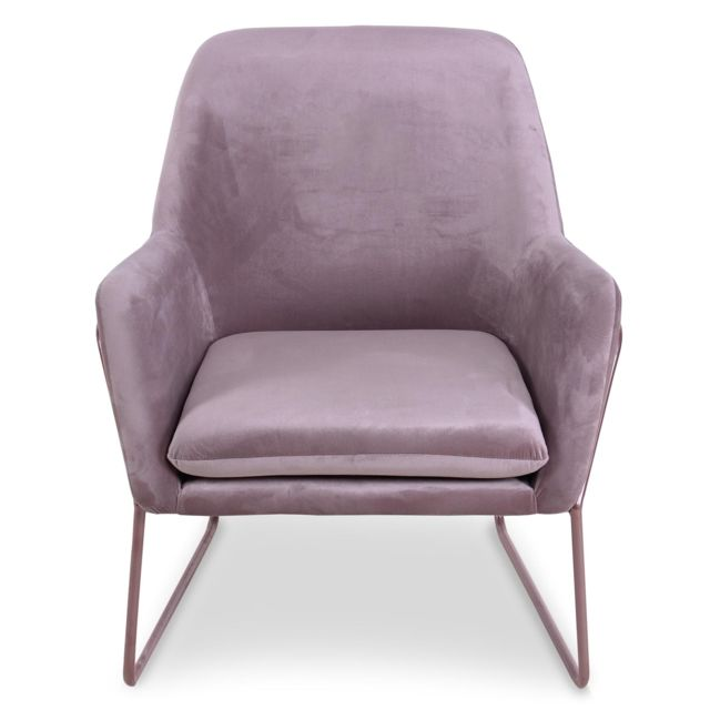 Fauteuil Claudio Velours Rose pieds Or rose
