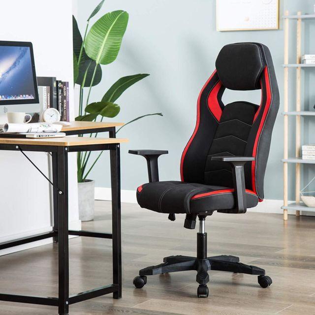 Chaise de Gamer Ergonomique, Fauteuil de Bureau Pivotant, Dossier Haut, Assis Rembourré, Hauteur Réglable Rouge