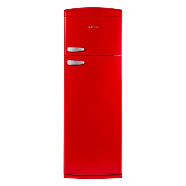 CLAYTON Réfrigérateur 2 portes - CL2PRETRORED - Rouge