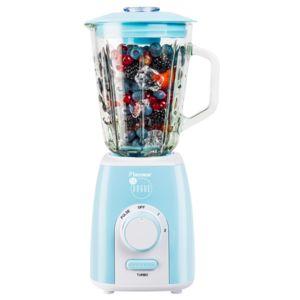 BESTRON - Blender - bol en verre 1,5L - 1000W - 4 pâles en inox pour glace pilée - pulse et 2 vitesses + bouton turbo - en bleu