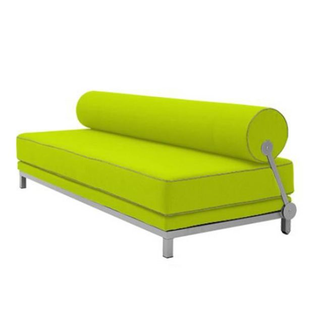 Inside 75 Canapé lit convertible design Sleep en tissu laine vert anis structure aluminium Softline