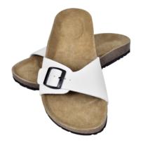 Sandales unisexes blanches en liège bio avec 3 brides à boucle T b5Wj1