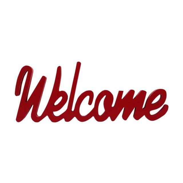 Mobili Rebecca Écriture Décorative Mot Welcome Rouge Bois Mdf 10x30x1,8