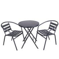 Cemonjardin - Structure en acier + bandes aluminium. Plateau de la table en verre trempé. Idéal pour les petites surfaces
