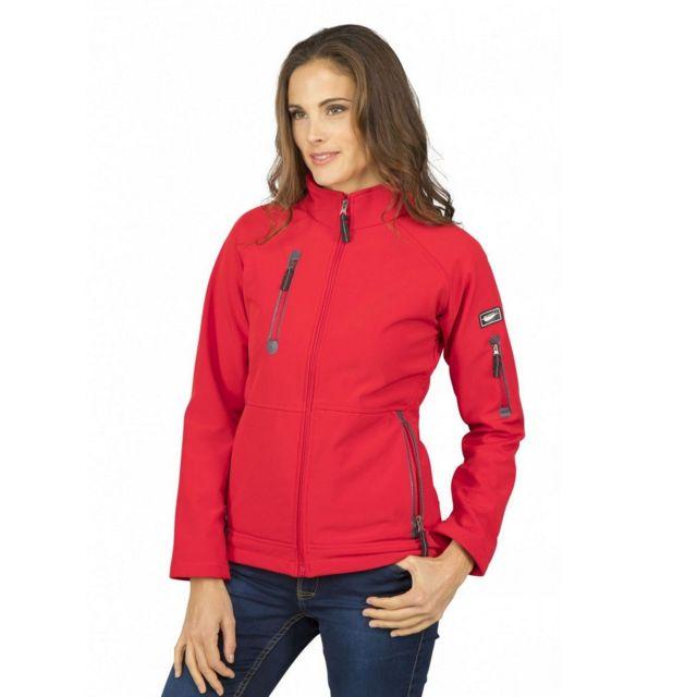 Fashion Cuir Blouson impermeable doublure polaire Couleur - rouge, Taille Femme - 38