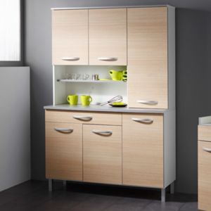 Buffet de cuisine 6 portes 120x44x181cm coloris chêne clair